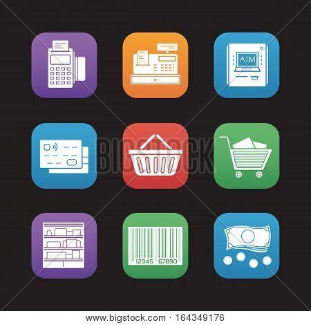Supermarket flat design icons set. Pos terminal, cash register, bank atm machine, credit card, shopping basket and cart, shop shelves, barcode, cash. Vector