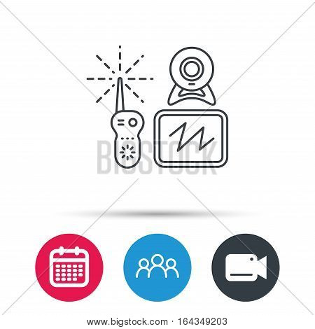 Baby monitor icon. Video nanny for newborn sign. Radio set with camera and tv symbol. Group of people, video cam and calendar icons. Vector