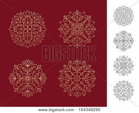 Set of four geometric round floral emblems in golden and black colors. Can bu used for beauty salon spa cosmetics or luxury logo design concept