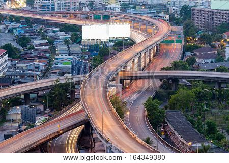Long exposure Highway interchanged in city downtown Bangkok Thailand