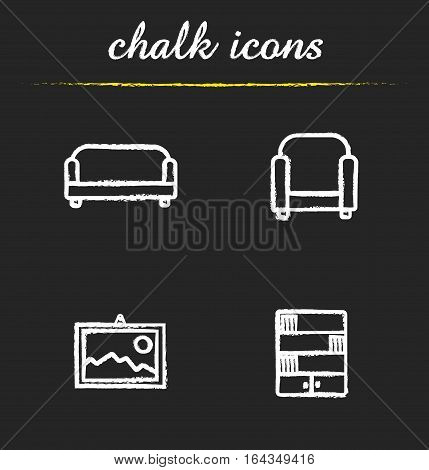 Interior chalk icons set. Sofa, armchair, wall picture and bookcase. Living room furniture. Isolated vector chalkboard illustrations