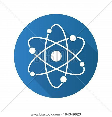 Atom flat design long shadow icon. Atomic structure. Physics sign. Vector silhouette symbol