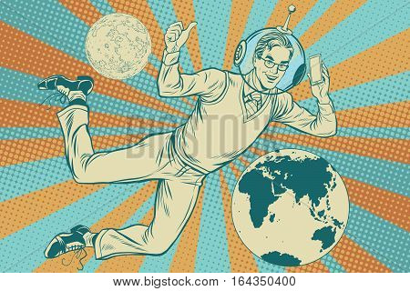 Businessman with telephone in space, pop art retro vector illustration. Earth and other planets