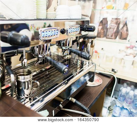 professional coffee machine in bar or restaurant. Close up