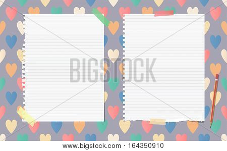 White ripped ruled notebook, copybook, note paper with pencil stuck on pattern created of colorful heart shapes.