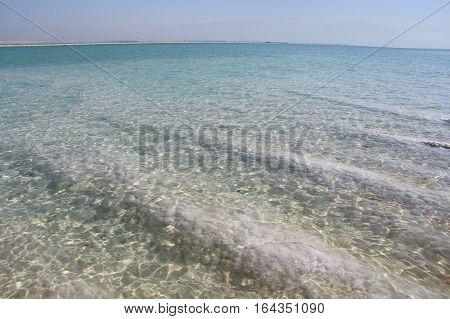 salt in unique water of the Dead Sea