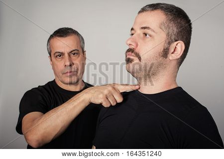 Kapap Instructor Shows The Critical Points. Pressure Points Fighting Concept