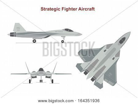 War plane on white background. Strategic Fighter in top, side, front view. Flat style. Vector illustration.