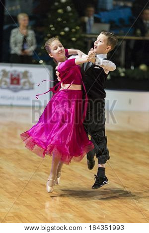 Riga Latvia- December 16 2016: Unidentified Dance Couple Performs Juvenile-1 Standard European Program on the WDSF Baltic Grand Prix-2106 Championship in December 16 2016 in Riga Latvia.
