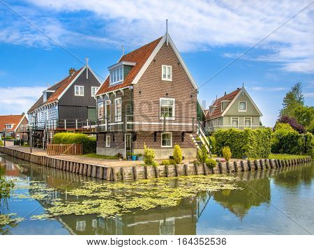 Historic Waterfront Houses Along Canal