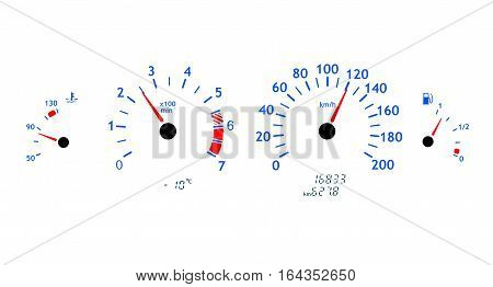 Car dashboards. Speedometer and tachometer. White background