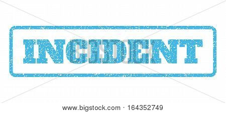 Light Blue rubber seal stamp with Incident text. Vector message inside rounded rectangular shape. Grunge design and scratched texture for watermark labels. Horisontal sticker on a white background.