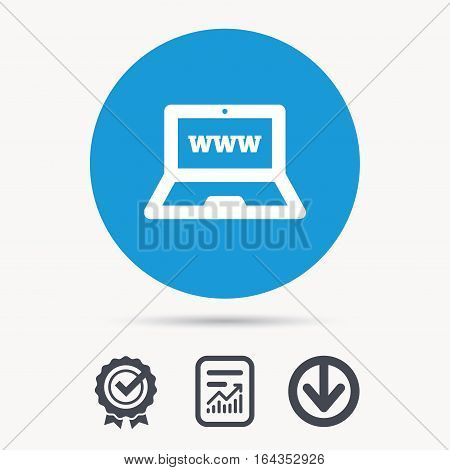 Computer icon. Notebook or laptop pc symbol. Achievement check, download and report file signs. Circle button with web icon. Vector