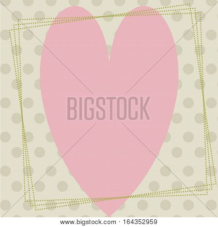 postcard in vintage style with heart on background with circles.template for greetings or scrapbook album page. vector illustration