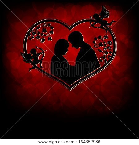 A design from silhouettes of lovers a boy and girl snuggled up to each other with cupids