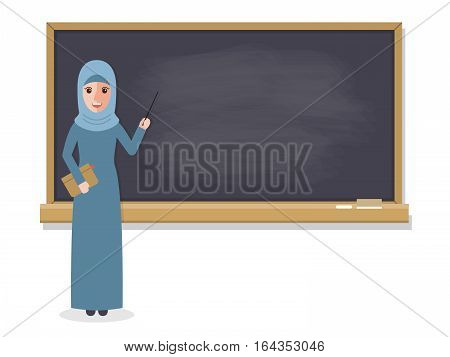 Muslim teacher professor standing in front of blackboard teaching student in classroom at school college or university. Flat design people characters.