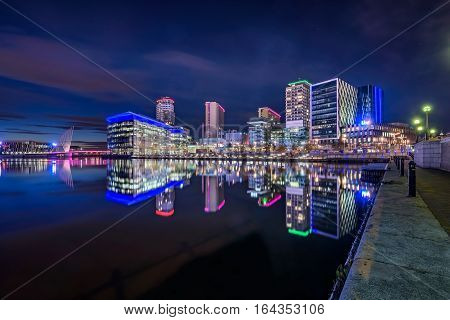 MediaCityUK is on the banks of the Manchester Ship Canal in Salford and Trafford Greater Manchester England.