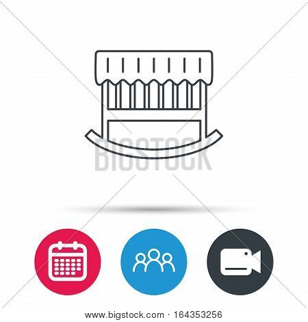 Baby cradle bed icon. Child crib sign. Newborn sleeping cot symbol. Group of people, video cam and calendar icons. Vector