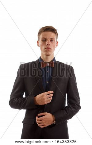 A man in a suit on white background