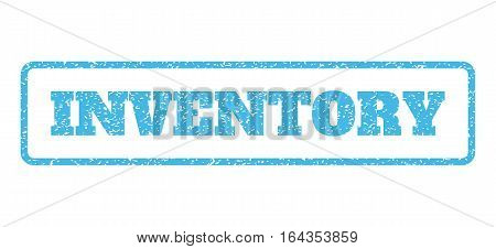 Light Blue rubber seal stamp with Inventory text. Vector message inside rounded rectangular shape. Grunge design and dirty texture for watermark labels. Horisontal sign on a white background.
