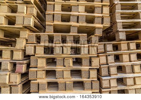 Background Close Up Piles Of Pallet On Business Area