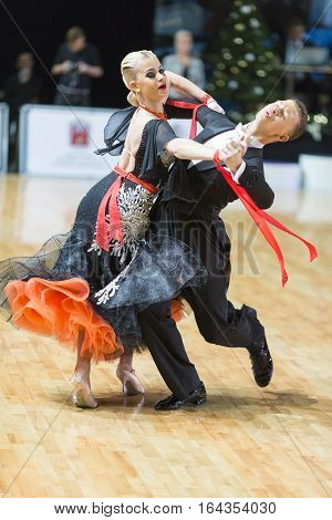 Riga Latvia- December 16 2016: Unidentified Dance Couple Performs Youth Standard European Program on the WDSF Baltic Grand Prix-2106 Championship in December 16 2016 in Riga Latvia.