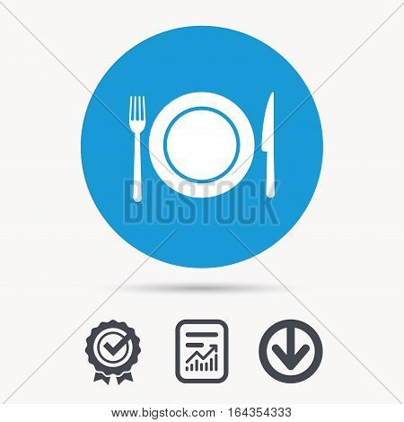 Dish, fork and knife icons. Cutlery symbol. Achievement check, download and report file signs. Circle button with web icon. Vector