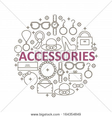 Set of women's fashion accessories in the style of a line located inside the circle. Vector illustration.
