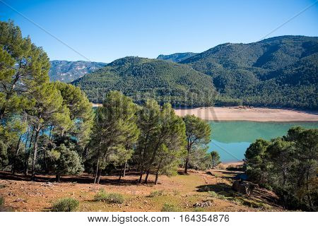 Beautiful landscape of green forest and blue lake