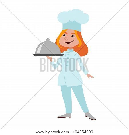 Chef standing cute young dressed in white clothes holding pot vector. Adult woman cook. Restaurant food preparing kitchen professional person.