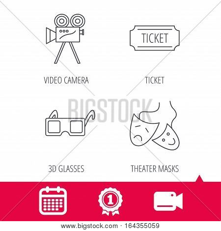Achievement and video cam signs. Ticket, video camera and theater masks icons. 3d glasses linear sign. Calendar icon. Vector