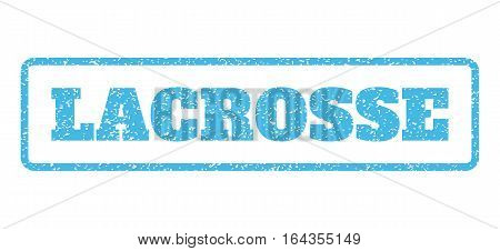 Light Blue rubber seal stamp with Lacrosse text. Vector caption inside rounded rectangular banner. Grunge design and unclean texture for watermark labels. Horisontal sticker on a white background.
