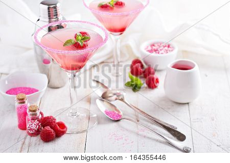 Pink raspberry martini cocktails for Valentines day