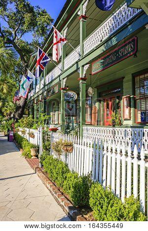 Fernandina Beach, FL, USA - Sept 7: Florida House Inn on S 3rd Street in the historic district of Fernandina Beach City in Florida