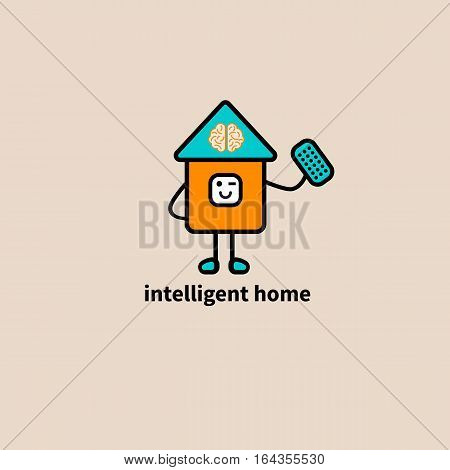 Icon smart house. Intelligent building holding remote. Vector illustration.