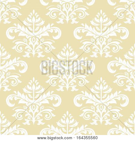 Oriental vector classic golden and white pattern. Seamless abstract background with repeating elements. Orient background