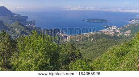 Panoramic landscape of Budva riviera in Montenegro Balkans Adriatic sea Europe