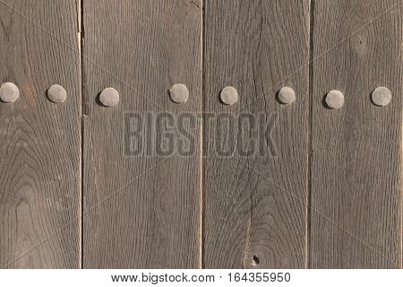 Old Wooden Vintage Traditional Door With Lock, Handles And Hinges