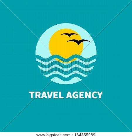 Logo travel Agency. Sun waves birds and sky Vector illustration