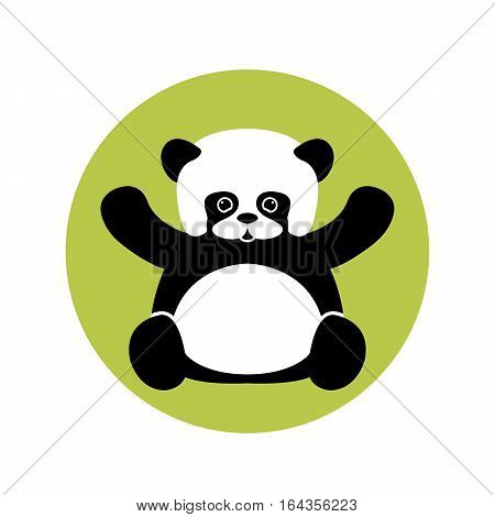 Panda vector illustration style Flat  side front