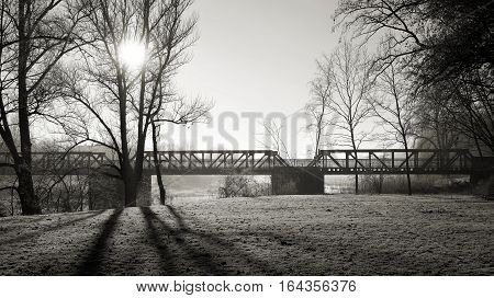 Old Bridge over the Elbe in the City Park Rotehorn in Magdeburg