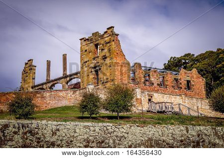 The UNESCO world heritage penitentiary Port Arthur is located in Port Arthur Historic Site on the Tasman Peninsula, Tasmania, Australia.