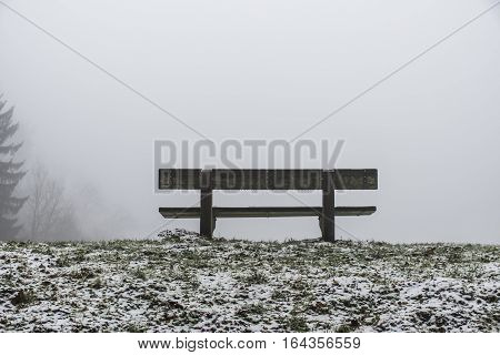 Bench Empty Seat In Wood Trees Winter And Fog 10
