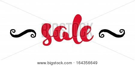 Modern SALE banner. Discount tag in red, black and white. Hand written lettering. The word SALE with swashes. Calligraphy design element. Sale background. Vector illustration.
