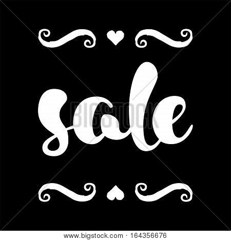 Modern SALE banner. Discount tag in black and white. Hand written lettering. The word SALE with swashes. Calligraphy design element. Sale background. Vector illustration.