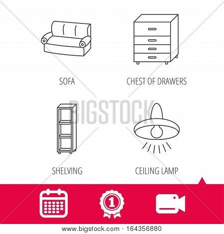 Achievement and video cam signs. Sofa, ceiling lamp and shelving icons. Chest of drawers linear sign. Calendar icon. Vector