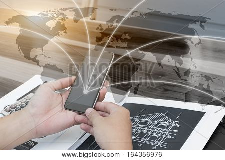 Business Globalization Technology Connection Concept,business People Hands Use Smartphone