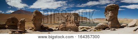 Panorama of rock formation at Laguna Turquin Altiplano Bolivia