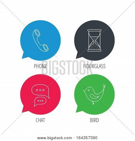 Colored speech bubbles. Chat, bird and phone call icons. Hourglass linear sign. Flat web buttons with linear icons. Vector