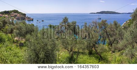 Panoramic landscape of bay Budva riviera in Montenegro Balkans Adriatic sea Europe